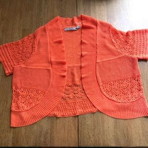 Orange sherbet crochet shrug shall bolero